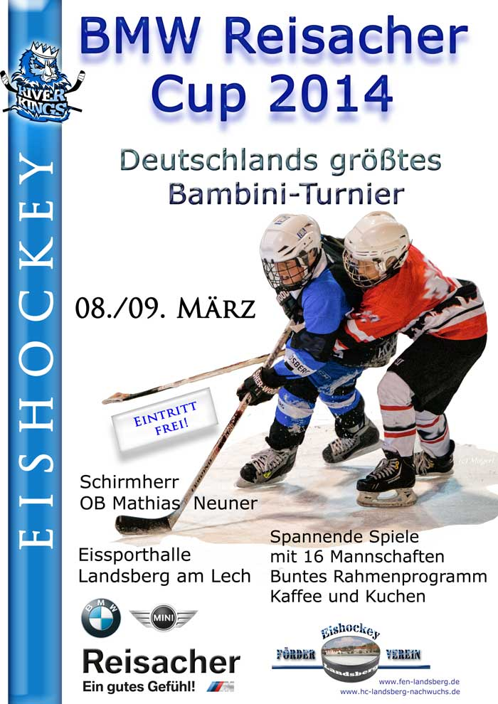 eishockey f rderverein landsberg bmw reisacher cup 2014 plakat. Black Bedroom Furniture Sets. Home Design Ideas